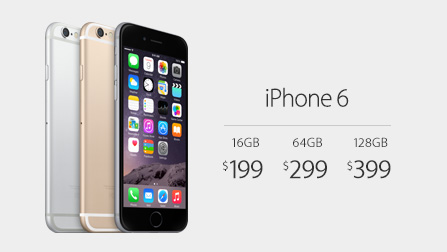 iPhone 6 starts at $199 with a two-year contract.