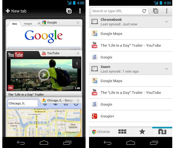 Google chrome web browsers for Android