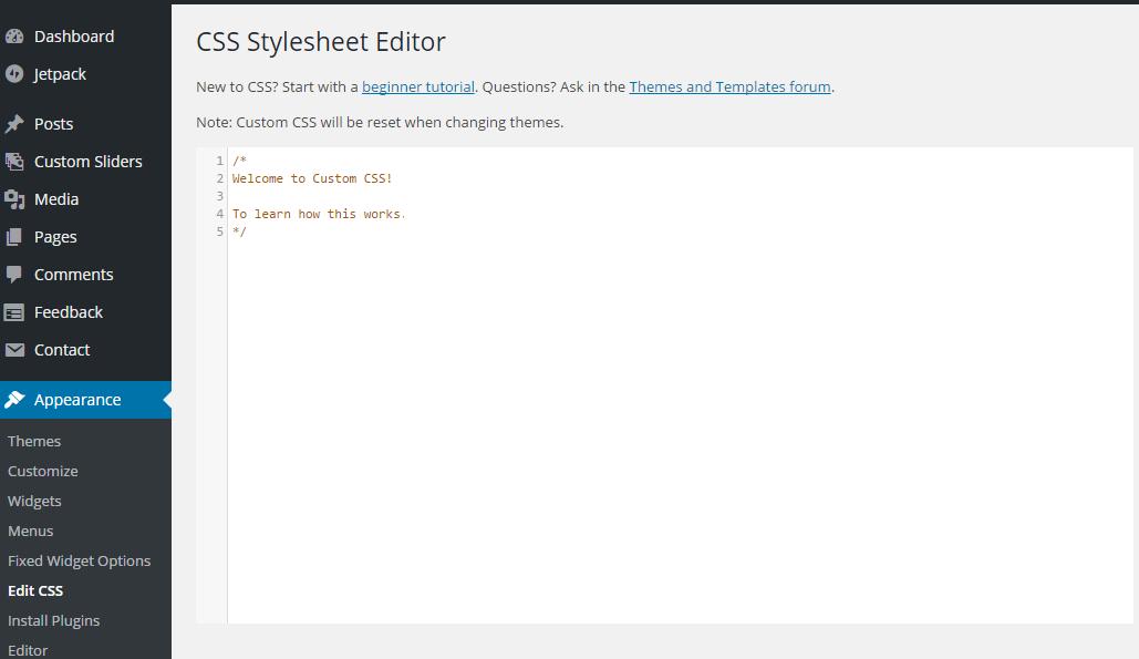 edit css wordpress