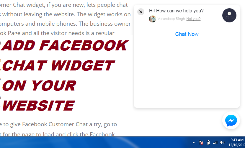 ADD EMBEDD FACEBOOK CHAT WIDGET